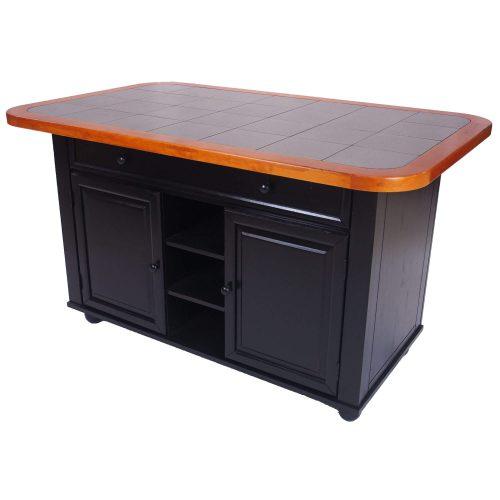 Kitchen Island in antique black with cherry trim - angled - CY-KITT02-BCH