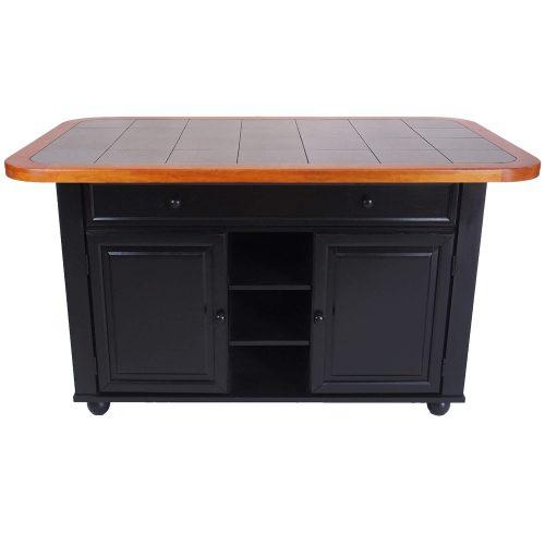 Kitchen Island in antique black with cherry trim - front view - CY-KITT02-BCH