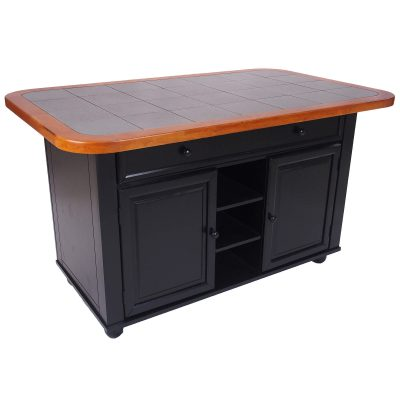 Kitchen Island in antique black with cherry trim - three-quarter - CY-KITT02-BCH