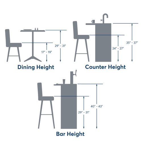 height dimensions of chair and stools
