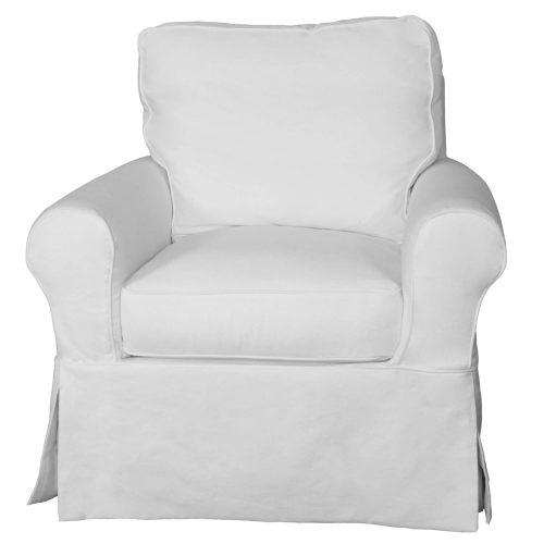 Horizon Slipcovered Swivel Rocking Chair - front view - SU-114993-391081