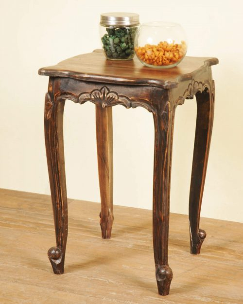 Vintage iron stain Mahogany accent table - room setting CC-TAB065S-VI