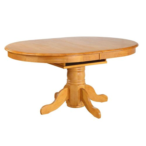 Oak Selections - Pdedstal dining table with butterfly leaf in a light-oak finish DLU-TBX4266-LO