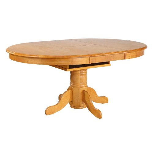 Oak Selections - Pdedstal dining table with butterfly leaf in a light-oak finish with leaves in DLU-TBX4266-LO