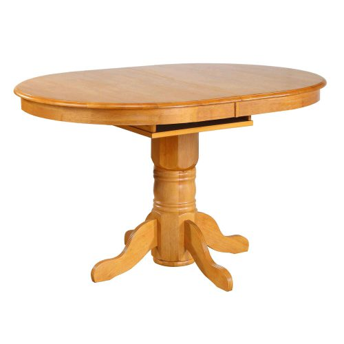 Oak Selections - Pedestal Pub table with butterfly leaf - light-oak finish - table closed DLU-TBX4266CB-LO