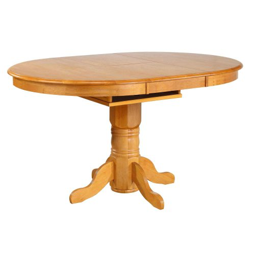 Oak Selections - Pedestal Pub table with butterfly leaf - light-oak finish - table extended DLU-TBX4266CB-LO