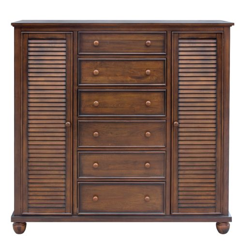 Armoire with six drawers - front view - Bahama shutterwood - CF-1142-0158