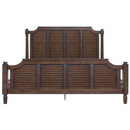 King size bed frame in Bahama Shutterwood - front view - CF-1106-0158-KB