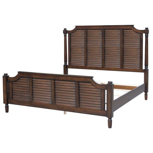 King size bed frame in Bahama Shutterwood - three-quarter view - CF-1106-0158-KB
