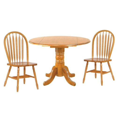 Oak Selections - 3-piece dining set - round drop leaf table and two arrow-back chairs - light-oak finish DLU-TPD4242-820-LO3PC