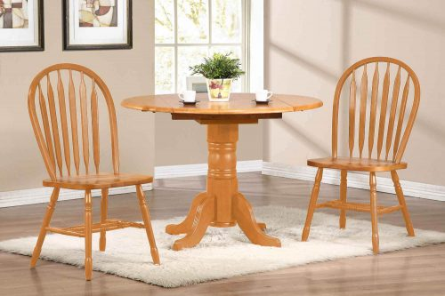 Oak Selections - 3-piece dining set - round drop leaf table and two arrow-back chairs - light-oak finish - dining room setting DLU-TPD4242-820-LO3PC