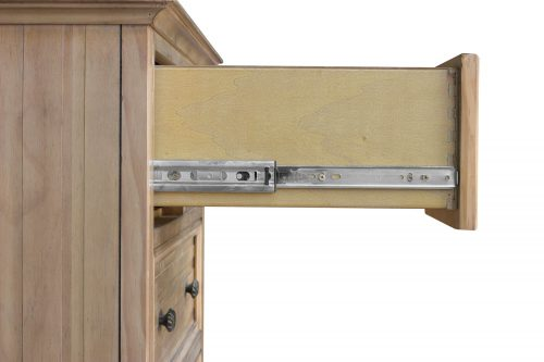 Vintage Casual Six Drawer Chest - open drawer showing hardware - CF-1241-0252