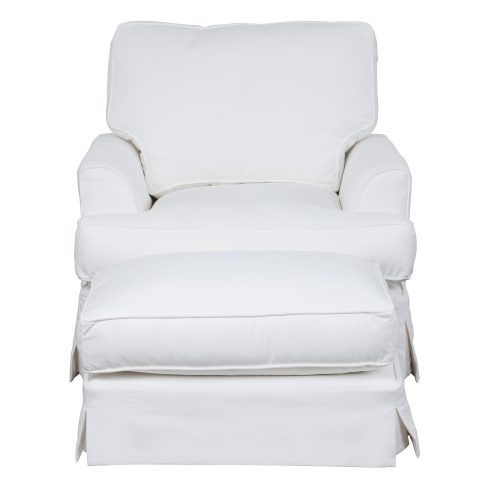 Slipcovered Chair with Ottoman – Performance White - Front view - SU-78320-30-81