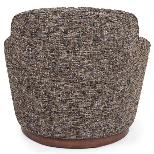 Heathered Black Brown Soft Tweed Swivel Chair - Back view SU-1705-93-871885