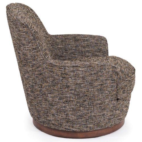 Heathered Black Brown Soft Tweed Swivel Chair - Side view SU-1705-93-871885