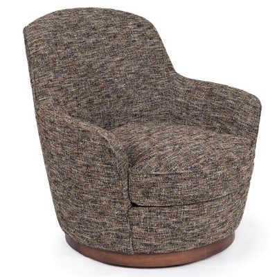 Heathered Black Brown Soft Tweed Swivel Chair - Three quarter view SU-1705-93-871885