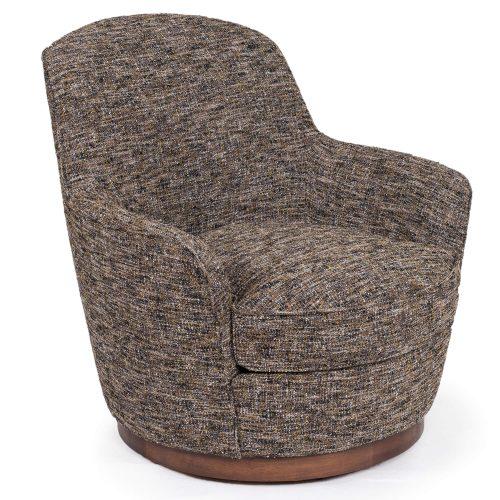 Heathered Black Brown Soft Tweed Swivel Chair - Three quarter view SU-1705-93-871885