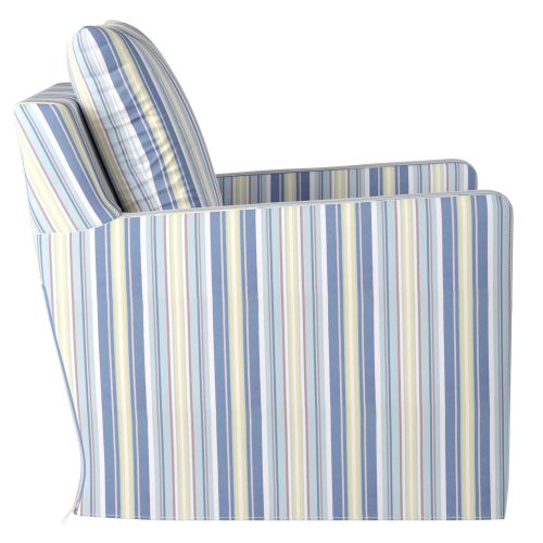 Slipcovered swivel chair with box cushion and track arm - side view in seaside beach striped SU-159593-395245