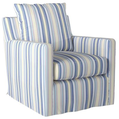 Slipcovered swivel chair with box cushion and track arm - three-quarter view in seaside beach striped SU-159593-395245