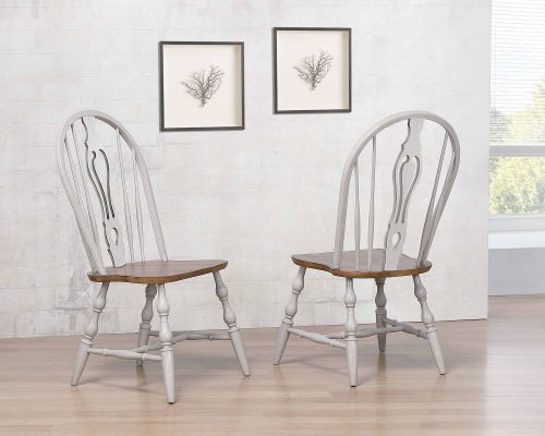 Country Grove Windsor keyhole chairs with Oak seat - pair in dining room setting DLU-CG-124S-GO-2