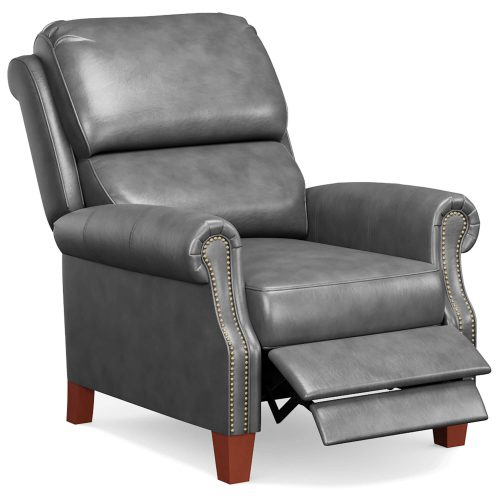 Alexander Pushback Recliner - shown in Dark Gray - Three quarter view in partial recline - SY-689-86-9307-97