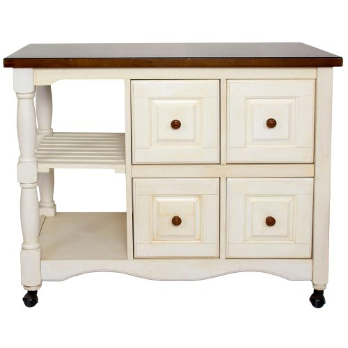 Andrews Kitchen Cart on casters in distressed white - front view - DCY-CRT-03-AW