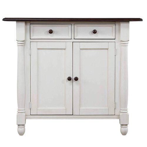 Andrews kitchen island in Antique white with a Chestnut top - cabinet door view - DLU-KI4222-AW