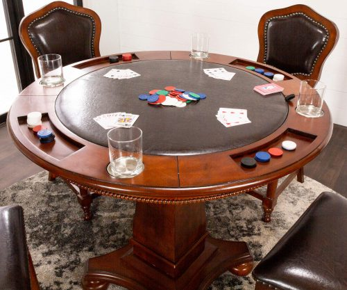 Bellagio Collection - Flip top dining and game table with four chairs - poker side closeup - CR-87148-5PC