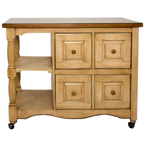 Brook Kitchen Cart on casters in Wheat and Pecan finish - front view - DCY-CRT-03-PW