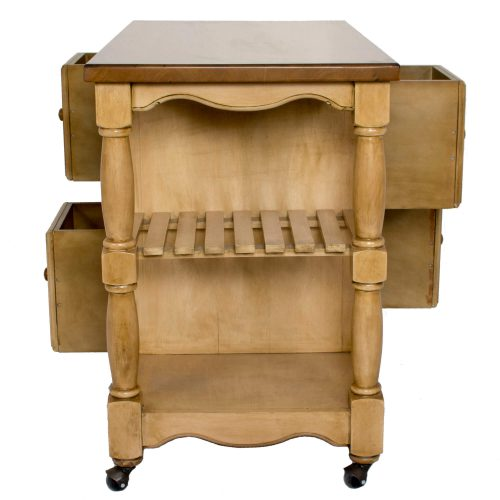 Brook Kitchen Cart on casters in Wheat and Pecan finish - side view showing storage shelves - DCY-CRT-03-PW.jpg