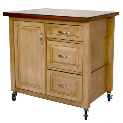 Brook Kitchen Cart with casters - distressed pecan - three-quarter view - PK-CRT-04-PW
