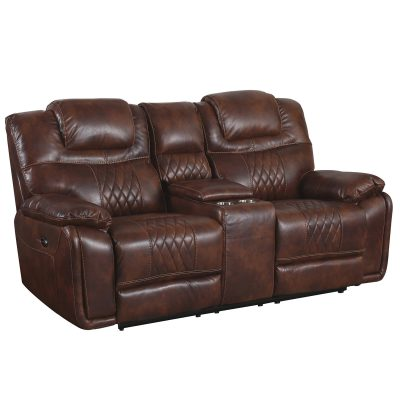 Diaimond Power Reclining Collection - Reclining living room set in brown - loveseat - three-quarter view- SU-ZY5018A002-H246