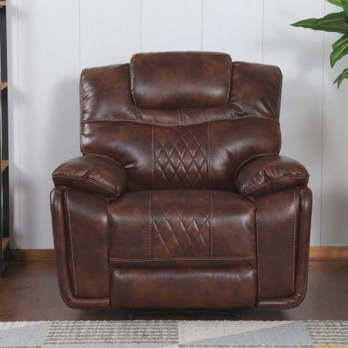 Diamond Power Reclining Collection - Reclining living room set in brown - Armchair-front living room view - SU-ZY5018A003-H246