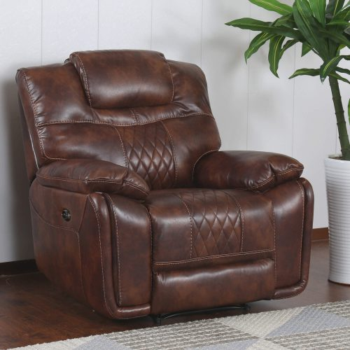 Diamond Power Reclining Collection - Reclining living room set in brown - Armchair- three-quarter living room view - SU-ZY5018A003-H246
