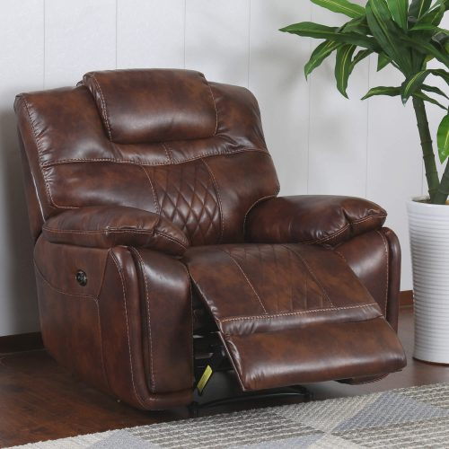 Diamond Power Reclining Collection - Reclining living room set in brown - Armchair- three-quarter living room view reclining - SU-ZY5018A003-H246