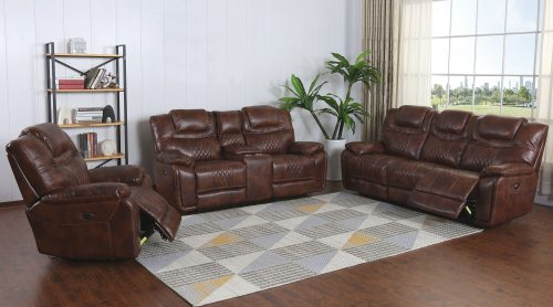 Diamond Power Reclining Collection - Reclining living room set in brown - Sofa - loveseat - armchair - SU-ZY5018A001-H246-L