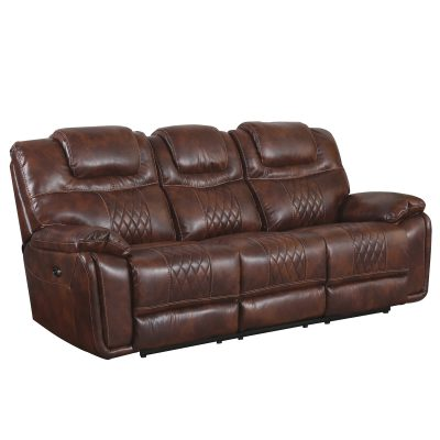 Diamond Power Reclining Collection - Reclining living room set in brown - Sofa- three-quarter view - SU-ZY5018A003-H246