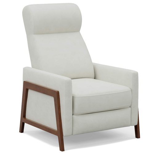 Edge Pushback Recliner shown in Pearl White - Three-quarter view - SY-1357-86-9102-81