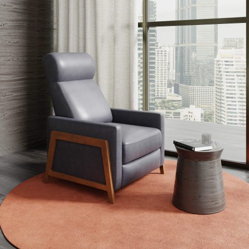 Edge Pushback Recliner - shown in Slate Gray - Comfortable room setting - SY-1357-86-9102-94