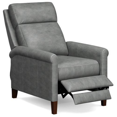 Ethan Pushback Recliner shown in Light Gray - three-quarter view in partial recline - SY-1916-86-9102-90