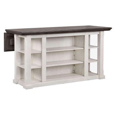 French Chic Collection - Drop Leaf Kitchen Island - back view with Leaf down - DLU-FC1016-IT