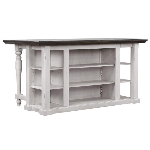 French Chic Collection - Drop Leaf Kitchen Island - back view with Leaf up - DLU-FC1016-IT
