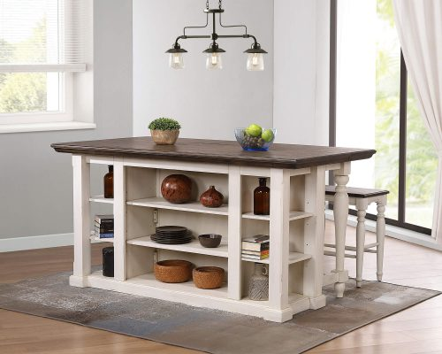 French Chic Collection - Drop Leaf Kitchen Island - in kitchen - rear view - DLU-FC1016-IT