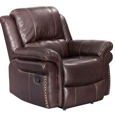 Glorious Collection - Reclining Chair in brown - three-quarter view - SU-GL-U9521R