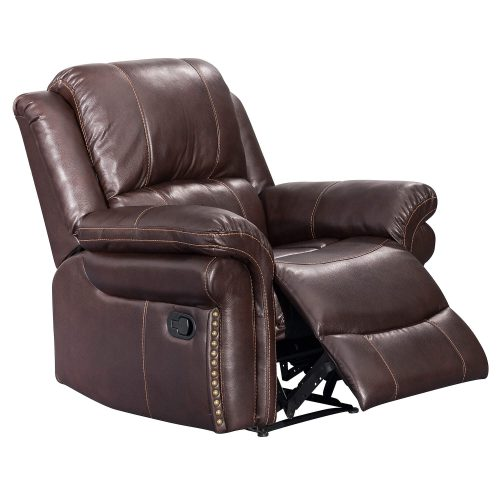 Glorious Collection - Reclining Chair in brown - three-quarter view partial recline - SU-GL-U9521R