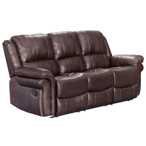 Glorious Collection - Reclining Sofa in brown - three-quarter view - SU-GL-U9521S
