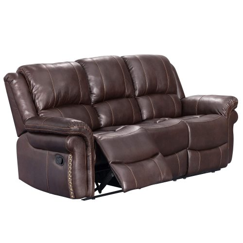 Glorious Collection - Reclining Sofa in brown - three-quarter view partial recline- SU-GL-U9521S