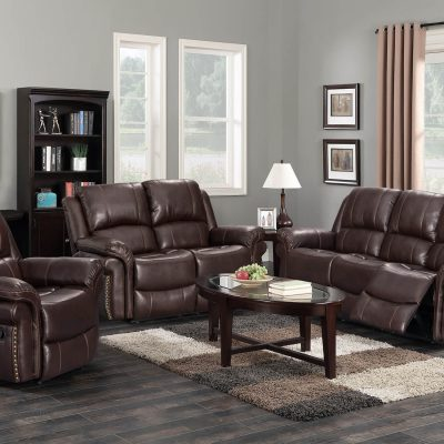 Glorious Collection - Reclining living room set with sofa - loveseat - armchair in brown SU-GL-U9521