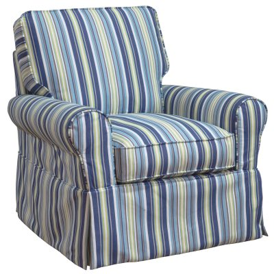 Horizon Slipcovered Box Cushion - Swivel Rocking Chair - Beach Striped - three-quarter view - SU-114993-395245