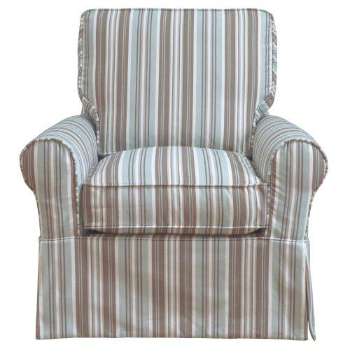 Horizon Slipcovered Box Cushion Swivel Rocking Chair - front view - Blue Striped - SU-114993-395225